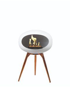 Le Feu Bio fireplace - White - Rose Gold Bowl - Rose Gold Legs